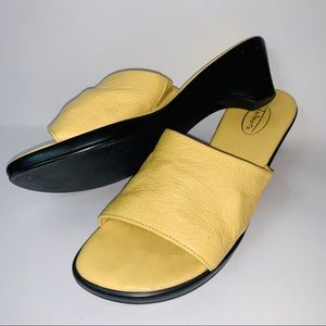 Talbots golden yellow leather slip on mules